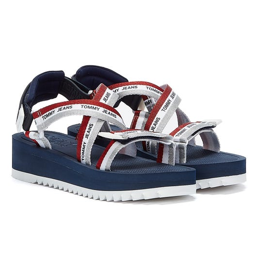Tommy Jeans Lurex Webbing Strap Womens Navy Sandals