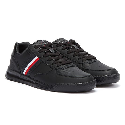 Tommy Hilfiger Lightweight Leather Flag Mens Black Trainers
