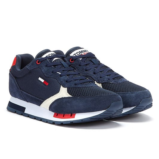 Tommy Jeans Retro Suede Mix Runner Mens Navy Trainers