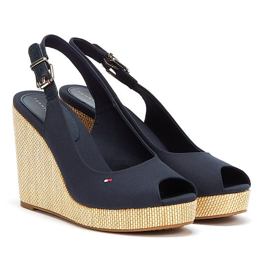 Tommy Hilfiger Iconic Elena Sling Back Womens Navy Wedge Sandals