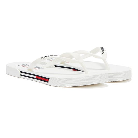 Tommy Jeans Essential Flat Womens White Slides