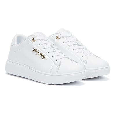 Tommy Hilfiger Signature Leather Womens White Trainers