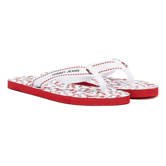 Tommy Jeans Web Flat Beach Women Navy Red White Sandals