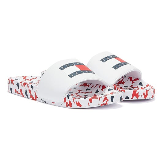 Tommy Jeans Printed Footbed Pool Women Navy Red White Slides
