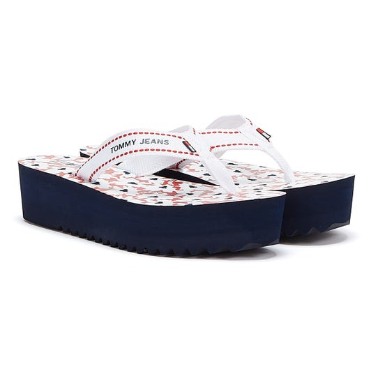 Tommy Jeans Webbing Wedge Beach Womens Navy Red White Sandals