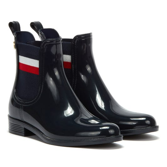 Tommy Hilfiger Corporate Ribbon Rainboot Womens Navy Boots