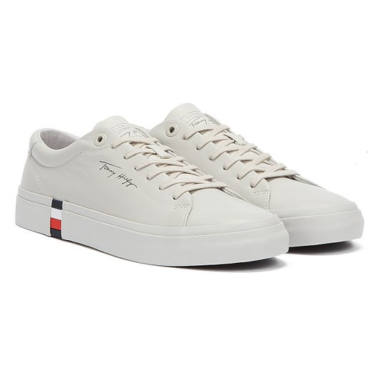Tommy Hilfiger Corporate Modern Vulc Leather Mens Grey Trainers