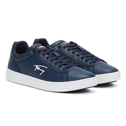 Tommy Jeans Cupsole Leather Mens Twilight Navy Trainers