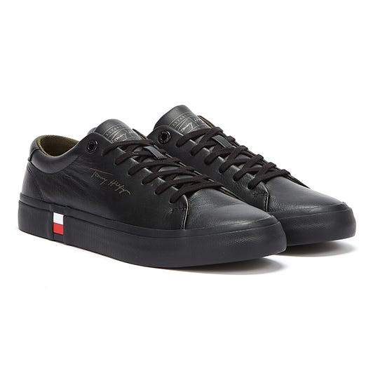 Tommy Hilfiger Corporate Modern Vulc Leather Mens Black Trainers