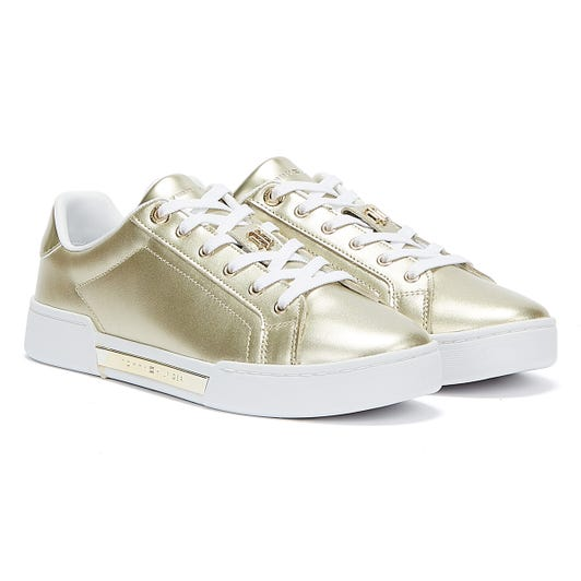 Tommy Hilfiger Metallic Elevated Womens Gold Trainers