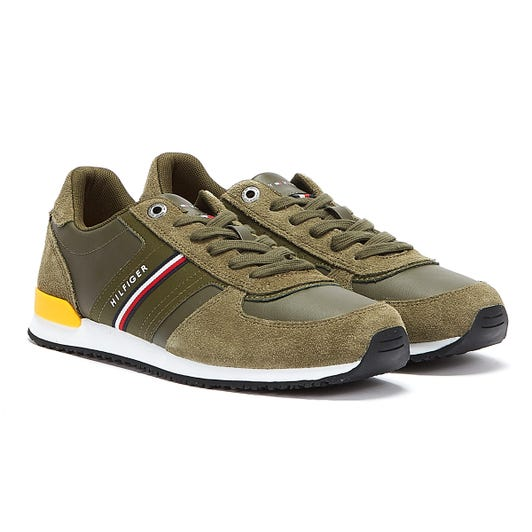 Tommy Hilfiger Iconic Runner Leather Mix Mens Green Trainers