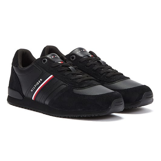 Tommy Hilfiger Iconic Runner Leather Mix Mens Black Trainers