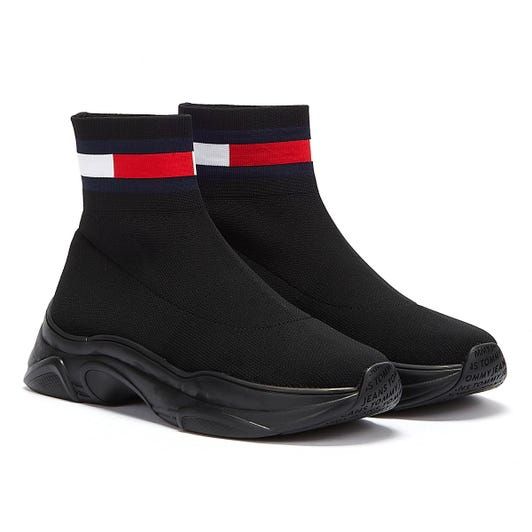 Tommy Jeans Flat Sock Womens Black Boots