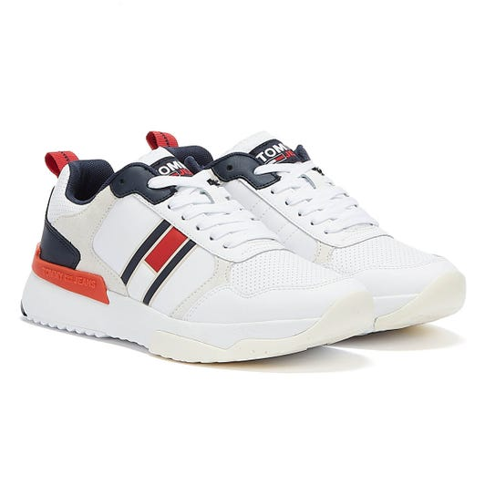 Tommy Jean Modern Runner Perf Lea Mens White Trainers