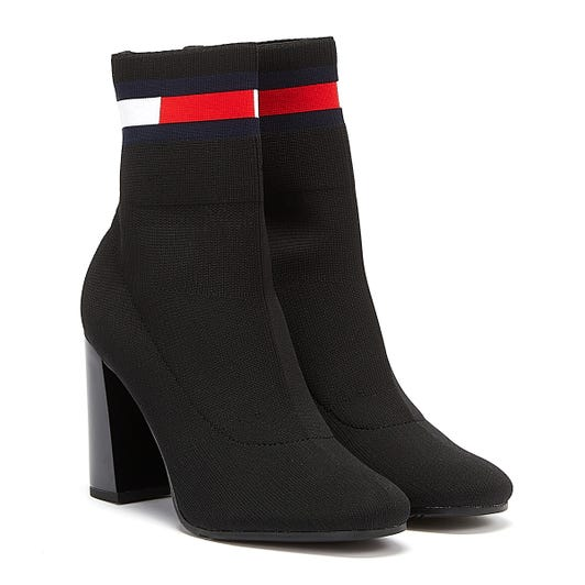 Tommy Jeans Sock Heeled Womens Black Boots