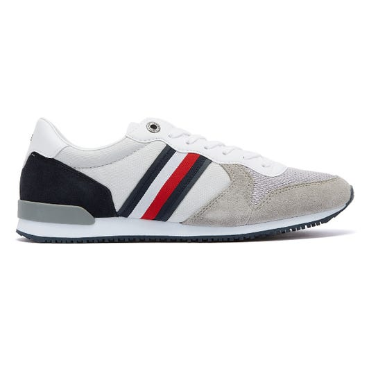 Tommy Hilfiger Iconic Material Mix Runner Mens Silver Trainers