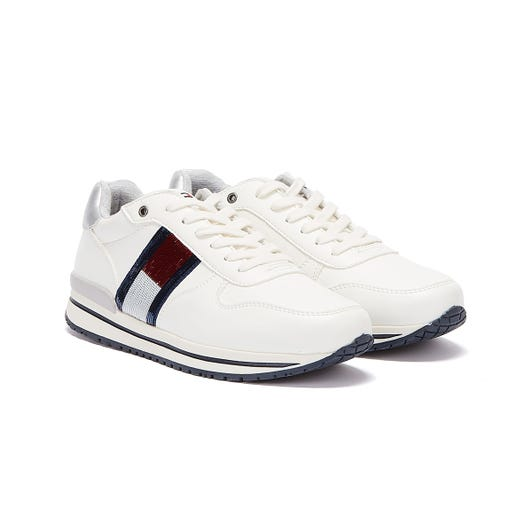 Tommy Hilfiger Sequin Flag Runner Youth White Trainers