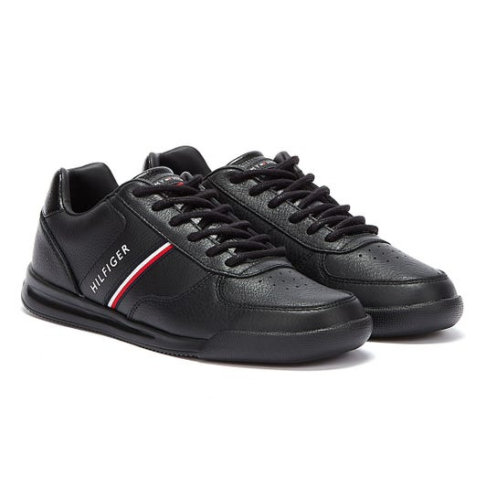 Tommy Hilfiger Lightweight Leather Mix Mens Black Trainers