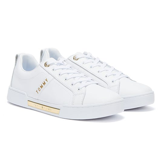 Tommy Hilfiger Gold Tone Detailing Womens White Trainers