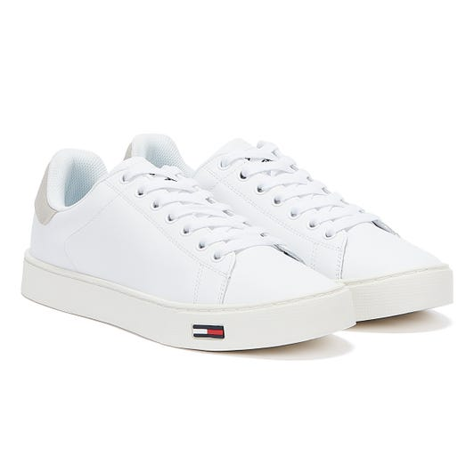 Tommy Hilfiger Essential Tommy Flag Leather Mens White Trainers