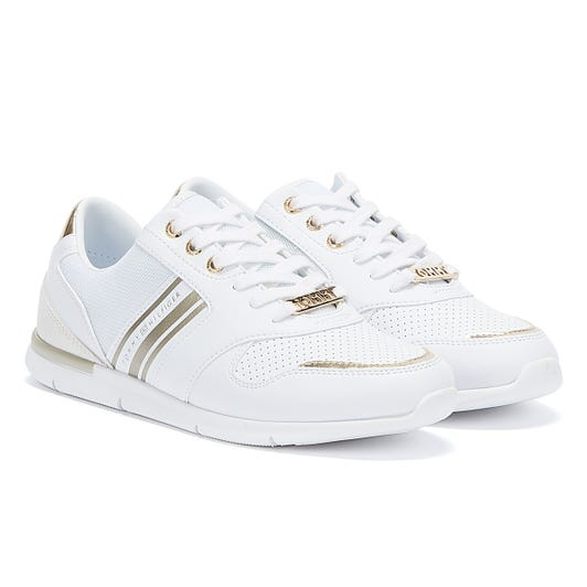 Tommy Hilfiger Lightweight Metallic Womens White / Gold Trainers