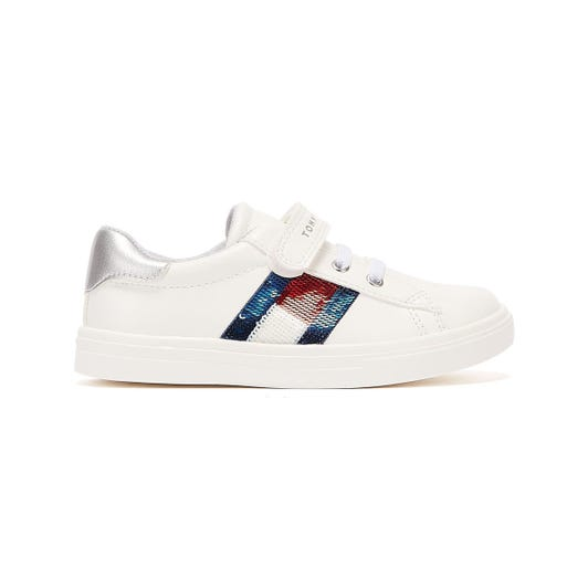 Tommy Hilfiger Low Cut Lace Velcro Toddlers White Trainers