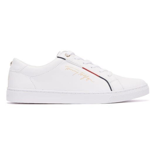 Tommy Hilfiger Signature Leather Mix Womens White Trainers
