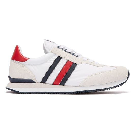 Tommy Hilfiger Low Mix Runner Stripe Mens White Trainers