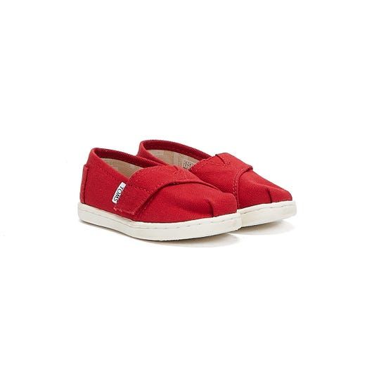TOMS Toddlers Red Canvas Tiny Classic Espadrilles