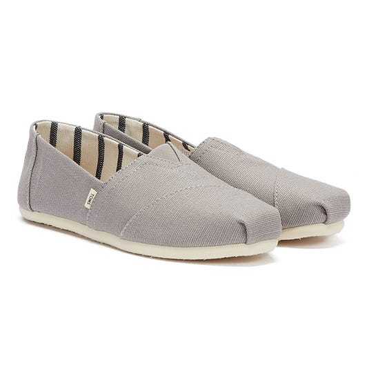 TOMS Womens Grey Heritage Canvas Classic Espadrilles