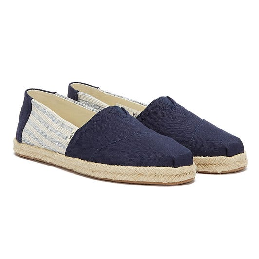 TOMS Mens Navy Ivy League Stripe Classic Espadrilles