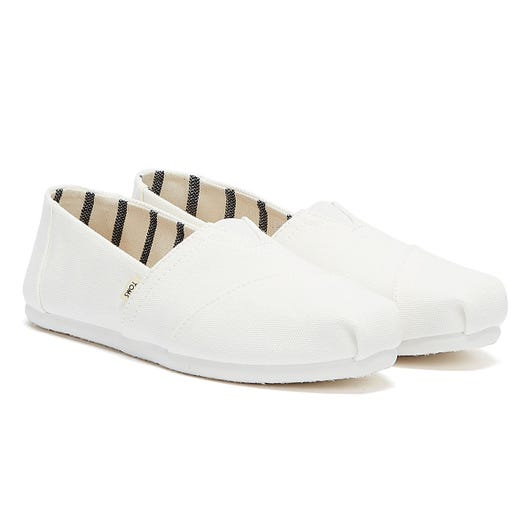 TOMS Classic Mens White Canvas Espadrilles