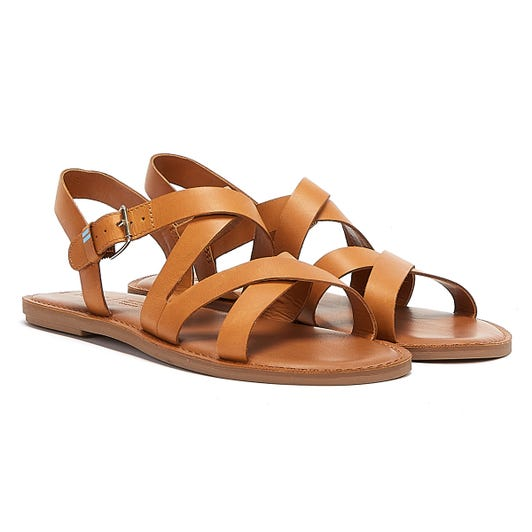 TOMS Sicily Leather Womens Brown Sandals