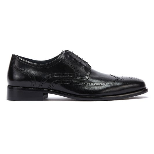 TOWER London Brogue Mens Black Leather Shoes