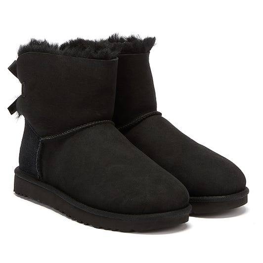 UGG Womens Black Mini Bailey Bow II Boots