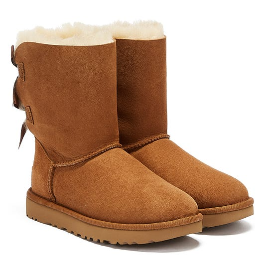 UGG Womens Chestnut Bailey Bow II Sheepskin Boots