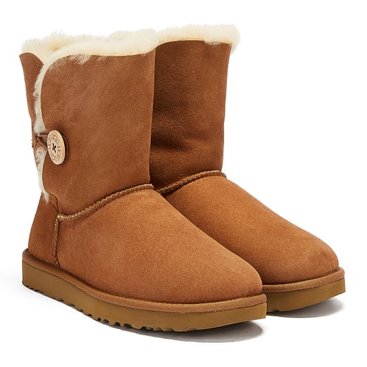 UGG Womens Chestnut Bailey Button II Sheepskin Boots