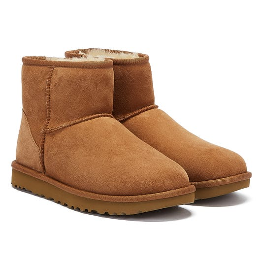 UGG Womens Chestnut Classic Mini II Sheepskin Boots