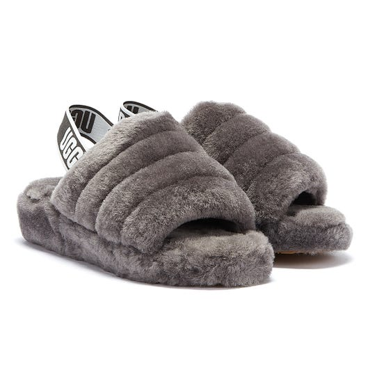 UGG Womens Charcoal Grey Fluff Yeah Slides