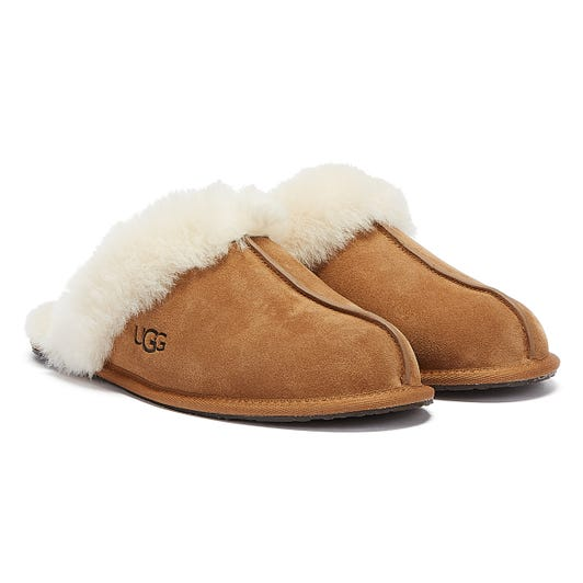UGG Scuffette II Womens Chestnut Brown Sheepskin Slippers