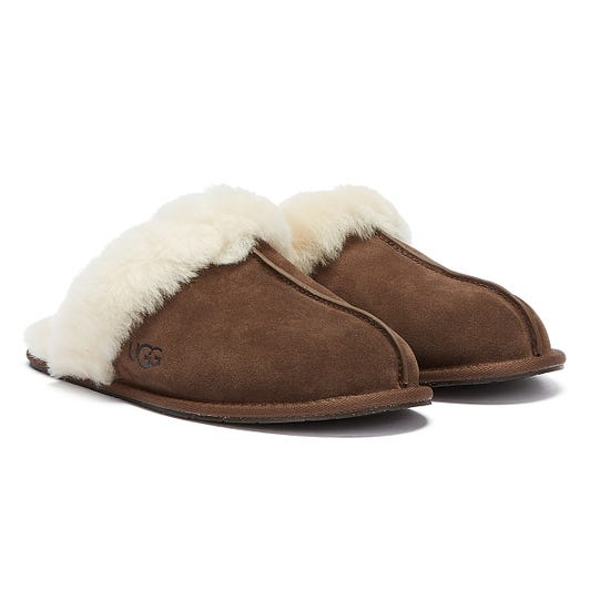 UGG Scuffette II Womens Espresso Brown Sheepskin Slippers
