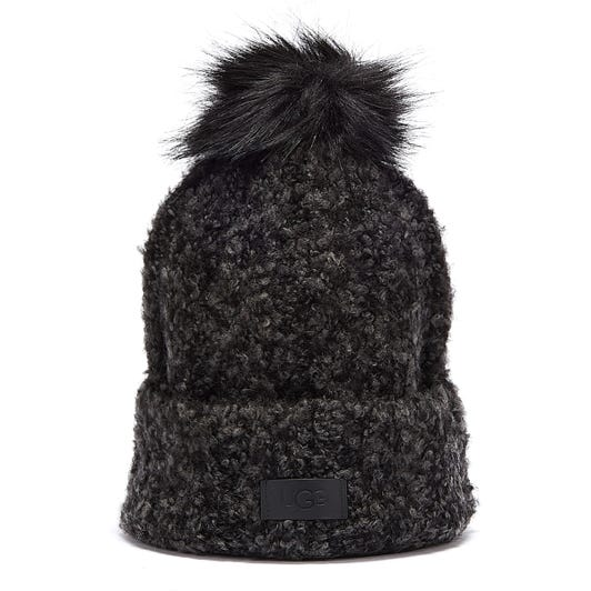 UGG Boucle Knit Cuff With Pop Black Beanie Hat