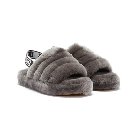 UGG Fluff Yeah Kids Dark Grey Slippers