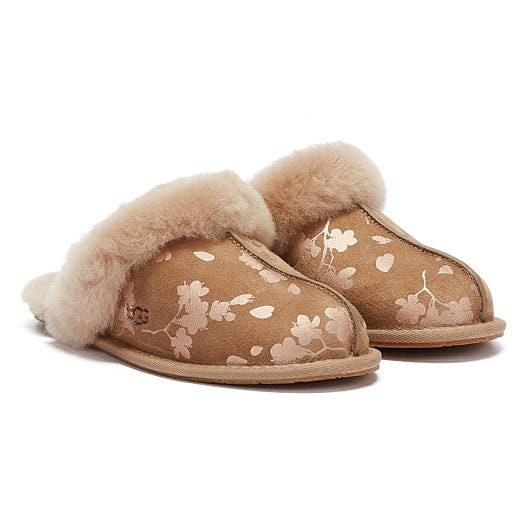 UGG Scuffette II Floral Foil Womens Brown Slippers
