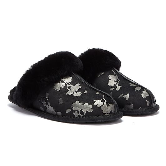 UGG Scuffette II Floral Foil Womens Black Slippers