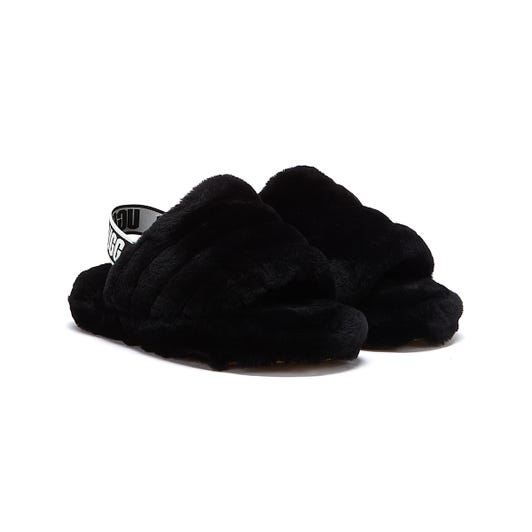 UGG Fluff Yeah Kids Black Slippers