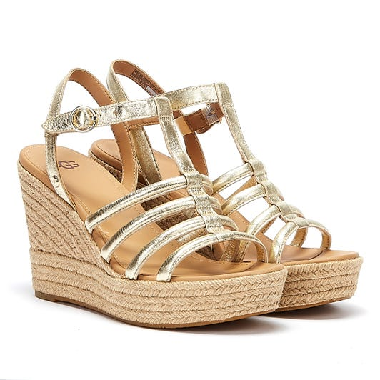UGG Cressida Leather Womens Gold Wedge Sandals