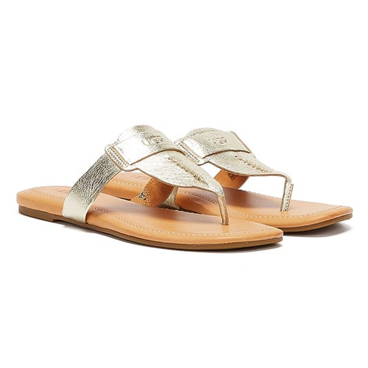 UGG Gaila Leather Womens Gold Flip Flops