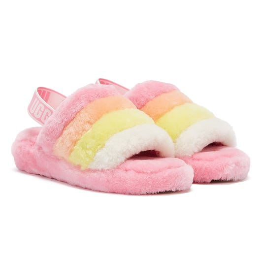 UGG Fluff Yeah Stripes Womens Pink / Multi Slippers