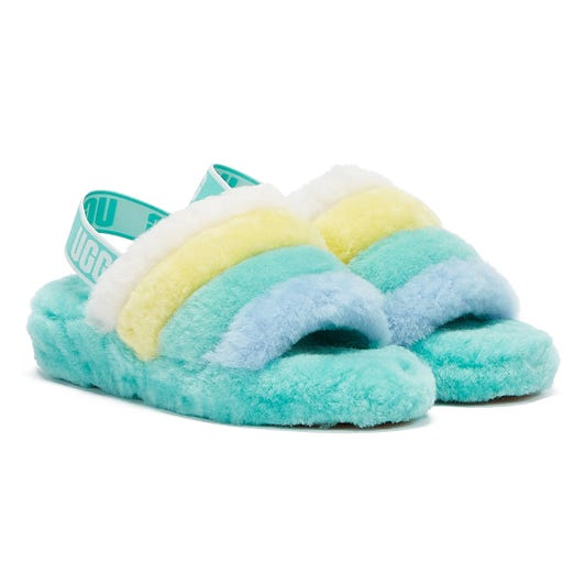 UGG Fluff Yeah Stripes Womens Blue  / Multi Slippers